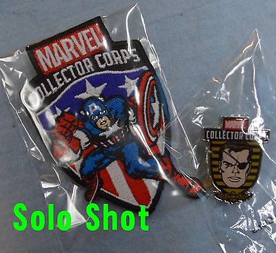 Marvel CAPTAIN AMERICA PATCH NICK FURY PIN Collector Corps First Appearance NEW