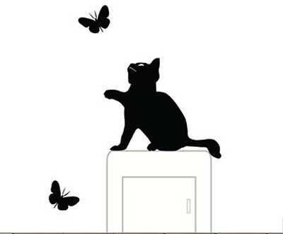 Black Cat And Butterflies Shaped Light Switch Wall Decal Sticker (Brand New)