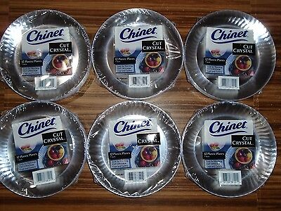 Chinet Cut Crystal Clear Plastic 7 inch Plates - Lot of 6 packs - 72 Plates NEW.