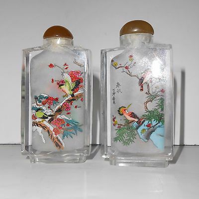 Chinese glass snuff bottles reverse painted birds pair 3""