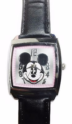 Mickey Mouse Square Face Black Leather Band Wrist Watch