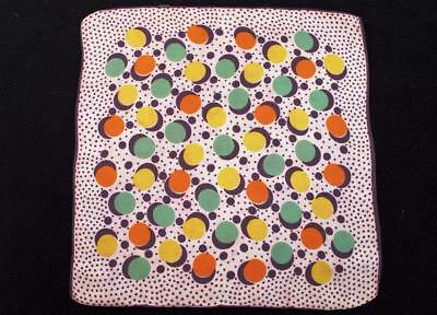Vintage 1930's Printed Handkerchief Hanky - Brightly Coloured Polka Dot Design