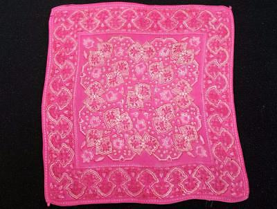 Vintage 1930's Printed Handkerchief Hanky -Pink Coloured Foliate Design