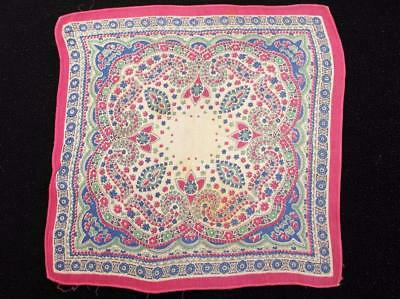 Vintage 1930's Printed Handkerchief Hanky - Pink & Blue Coloured Paisley Design