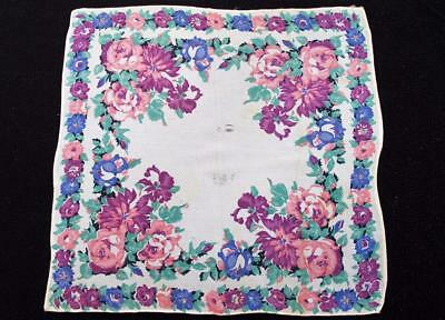 Vintage 1930's Printed Handkerchief Hanky - Pink & Purple Flower Design