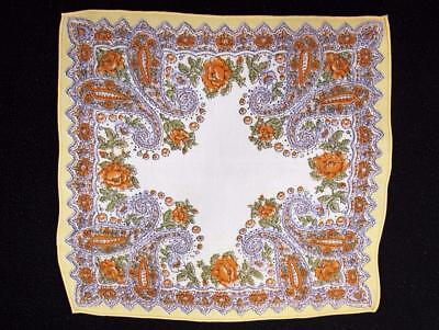Vintage 1930's Printed Handkerchief Hanky - Orange Yellow Green Paisley Design