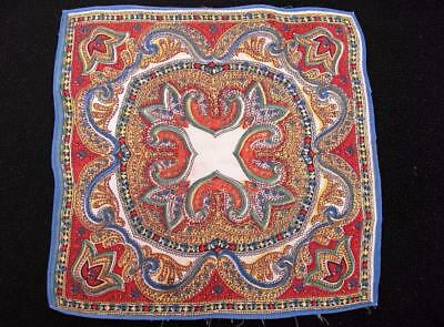 Vintage 1930's Printed Handkerchief Hanky -Brightly Coloured Paisley Design