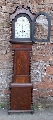 ANTIQUE Grandfather LONGCASE CLOCK 8 Day In MAHOGANY Case & PAINTED Dial