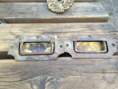 A Pair of Victorian Solid Brass Military Chest Handles or Box Handles flush fit