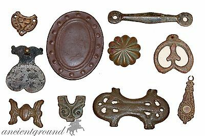 Stunning Lot Of Ancient Bronze Ornaments , End Straps , Pendants