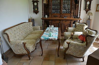 Chippendale Couch/Sofa 2 Sessel Tisch Barock Chesterfield Granitur