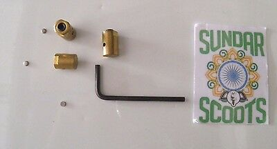 Gp,li,sx & Tv. 3 Brass Cable Trunnions & Caps + Allen Key For Lambretta Scooters
