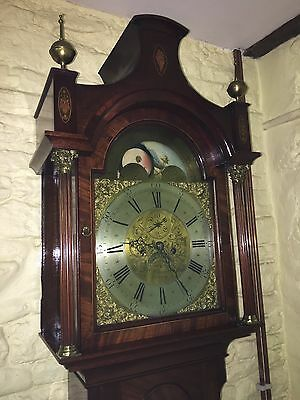 Mahogany longcase clock  antique Brass dial moon phase pagoda top  8 day
