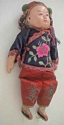 Beautiful Chinese Antique China Doll With Embroidered Clothes Tt59
