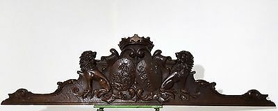 LION CROWN PEDIMENT CREST ANTIQUE FRENCH CARVED WOOD SALVAGED CARVING 19th 58 in