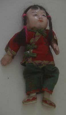 Sweet Chinese Antique China Girl Doll W/ Embroidered Clothes Tt60