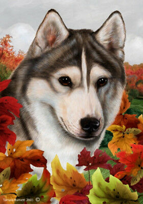 Garden Indoor/Outdoor Fall Flag - Grey & White Siberian Husky 130181