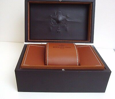 Breitling Luxury Watch Storage Box And Genuine Leather Travel Case ~ New