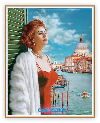 """SOPHIA LOREN VENICE ORIGINAL PAINTING by KOUFAY ON 19""""x24"""" STRETCHED CANVAS"""