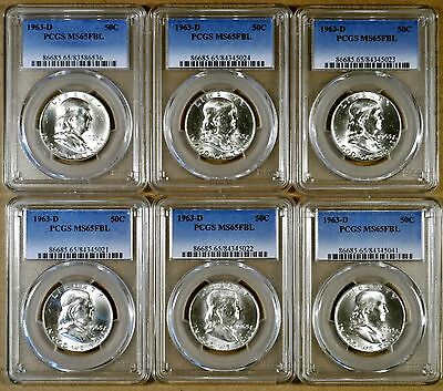 1963-D PCGS MS65 FBL Franklin Half Dollar - 100% White