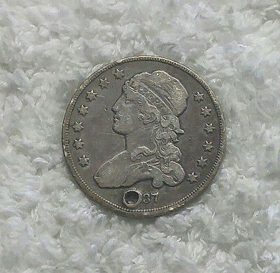 1837 Bust Quarter - F/VF holed at 6:00 - Free Shipping