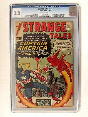 Strange Tales #114 (1963) Key 1st S.A. Captain America Silver Age CGC 3.5 BP648