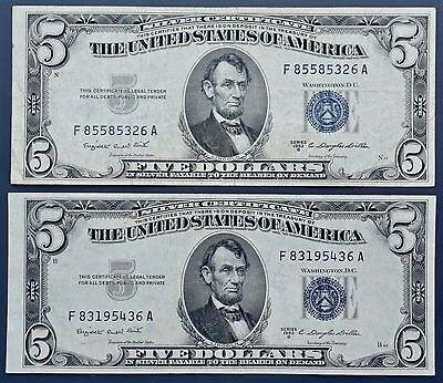 TWO (2) Series 1953-B Blue Seal $5 Five Dollar Silver Certificates Actual Pics