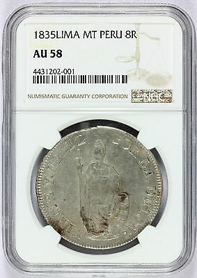 1835 Lima MT Peru 8 Reales Silver Coin - NGC AU 58 - KM# 142.3