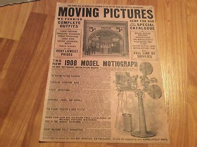page from 1908 Sears Catalog #117 MOVING PICTURES Outfits Motiograph