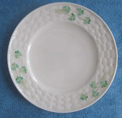 BELLEEK Ireland fine porcelain SIDE PLATE Shamrock basket weave 1st green mark