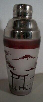 Art Deco ORIENTAL Opaque Glass w/Red Design Cocktail Shaker Pagoda & Trees Mixer
