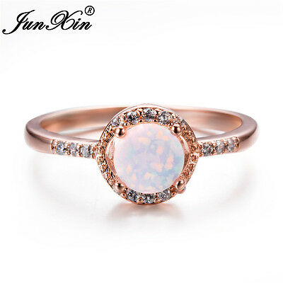 Classic Round Cut White Fire Opal CZ 10KT Rose Gold Wedding Ring Women Size 5-11