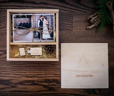 170*170*35mm custom wedding ads logo 4*6 photo Album box wood usb Flash drive