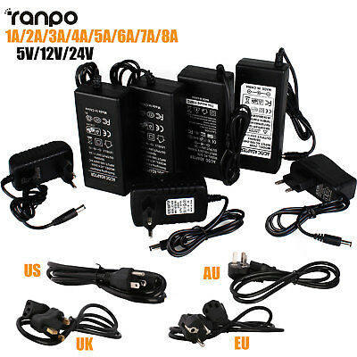 Power Supply Adapter Transformer 1A 2A 3A 5A 8A DC 5V 12V 24V For 5050 LED Strip