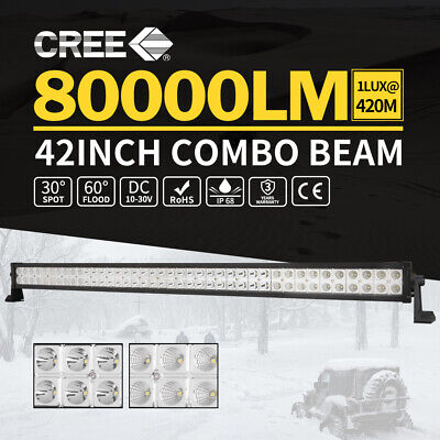 """42inch CREE LED Light Bar Spot Flood Combo Offroad Driving Truck 4WD 50/52"""""""