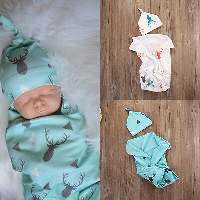 Newborn Baby Boys Girls Cotton Deer Stretch Wrap Swaddle Blanket Bath Towel+Hats