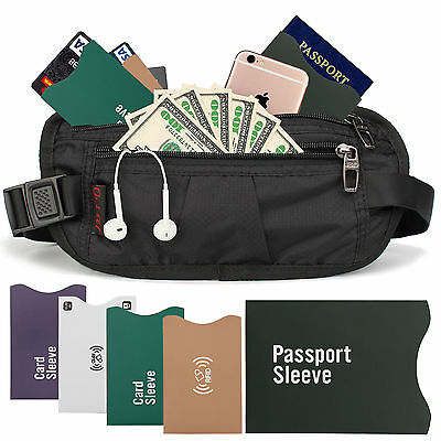 Waterproof Travel Wallet Money Belt Security Waist Pack Hidden Pocket Safe RFID