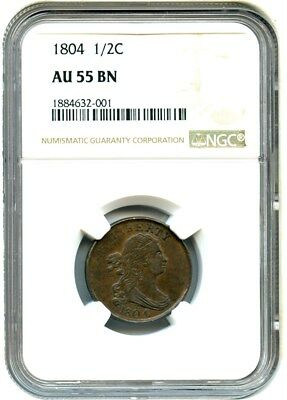 1804 1/2c NGC AU55 BN - Early Half Cent Type Coin - Half Cent