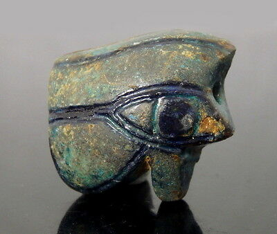 Large Egyptian Faience Eye Of Horus Amulet (L279)