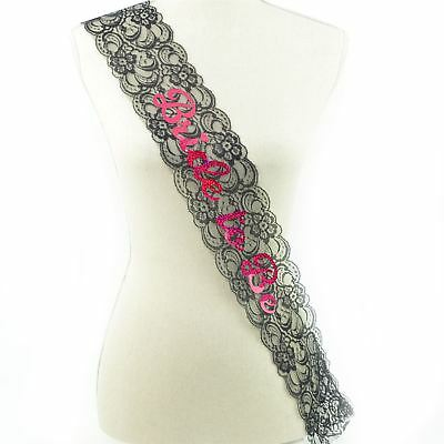 Shatchi Bride To Be Black Lace Sash Hen Night Bridal Shower Wedding Accessories