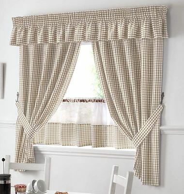"""Beige And White Gingham Kitchen Curtains Pelmet & 24"""" Cafe Panel *3 Sizes*"""