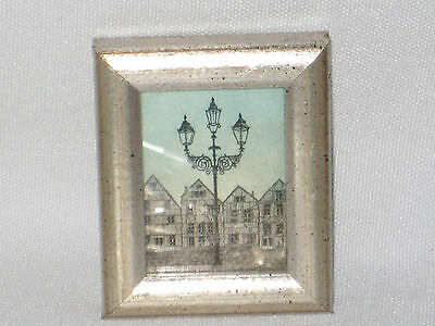VERY SMALL FRAMED PRINT LAMP POST 3 1/8 x 2 1/2 x 1/2 ANTIQUED SILVER ON WOOD