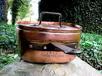 ANTIQUE FRENCH 19thC SIGNED QUALITY COPPER DAUBIERE CHATEAU DE GROS BOIS POT PAN