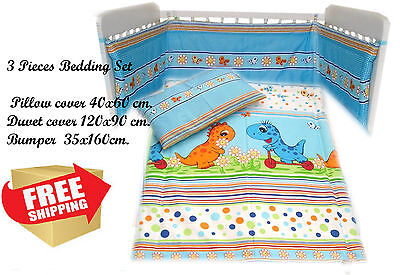 3 Pieces Baby Bedding Set Nursery Cot Bed Round Padded Bumper RRP 29.99ł (005)