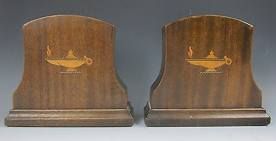 Pair of Antique Mahogany Book Ends with Hand Made Inlaid Wood Oil Lamps