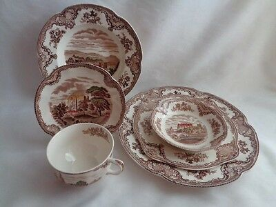 JOHNSON BROS BROWN TRANSFER OLD BRITAIN CASTLES- 6pc  PLACE SETTING(S)
