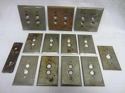 Lot of 12 Vintage Metal Plates for Push Button Switches & 1 Metal Doorknob Plate