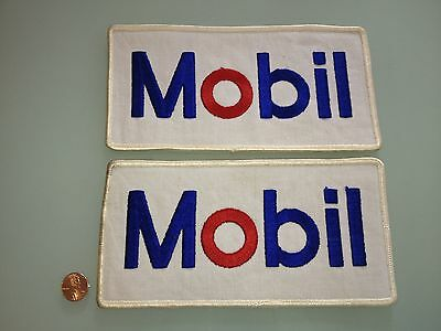 """2 Vintage MOBIL Oil Company PATCH lot Unused RARE sew on Large 8 inch x 4"""" gas"""