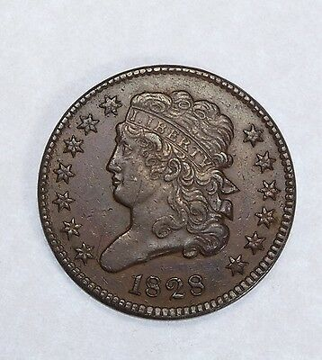 1828 Classic Head Half Cent with 13 Stars EXTRA FINE 1/2-Cent