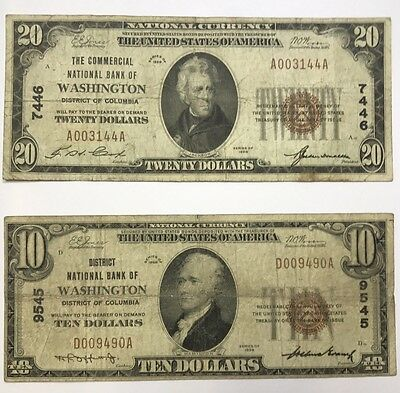 Lot Of 2 Small Size National Bank Notes Washington District Of Columbia